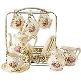 ufengke® 11 pièces Créatif Européen Angleterre luxe Peint à la main rouge et doré Rose Fleur Ivoire Porcelaine Service À café Service À Thé