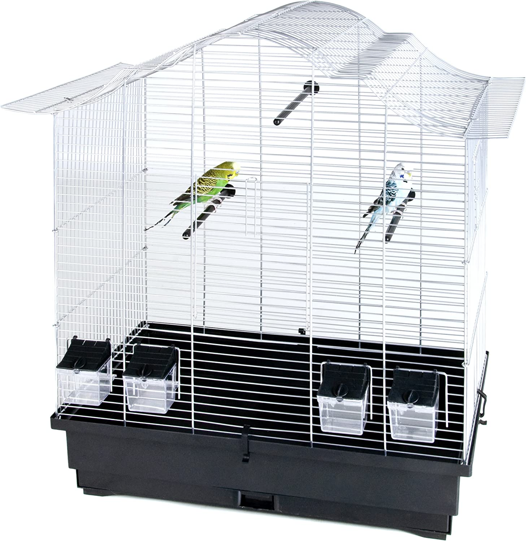 Pet Producto distribución Alambre Jaula de pájaros con 4x comederos/Perchas/Saca la Bandeja, 70x 42x 72,5cm, Color Plateado