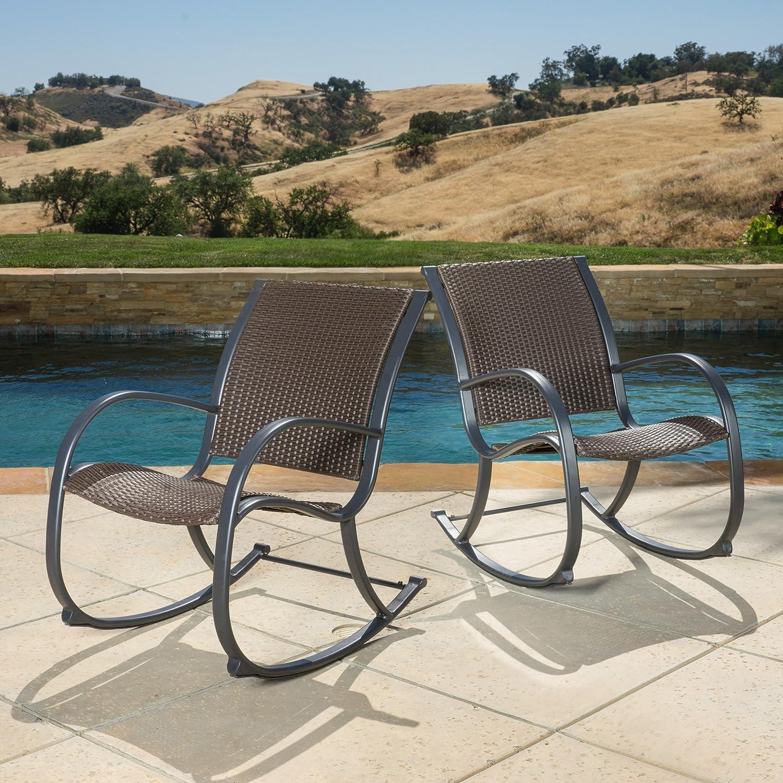 Leann Outdoor Dark Brown Wicker Rocking Arm Chairs Set of 2