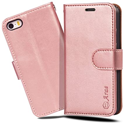 huge discount efea0 af648 Iphone SE Case, iphone 5s case, Arae [Wrist Strap] Flip Folio ...