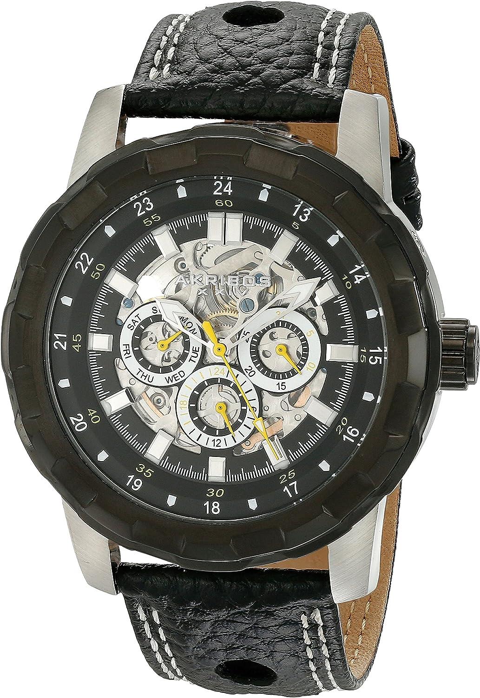 Akribos XXIV Men's 'Premier' Automatic Multifunction Watch - 3 Skeleton Subdials on  Genuine Leather Strap - AK557
