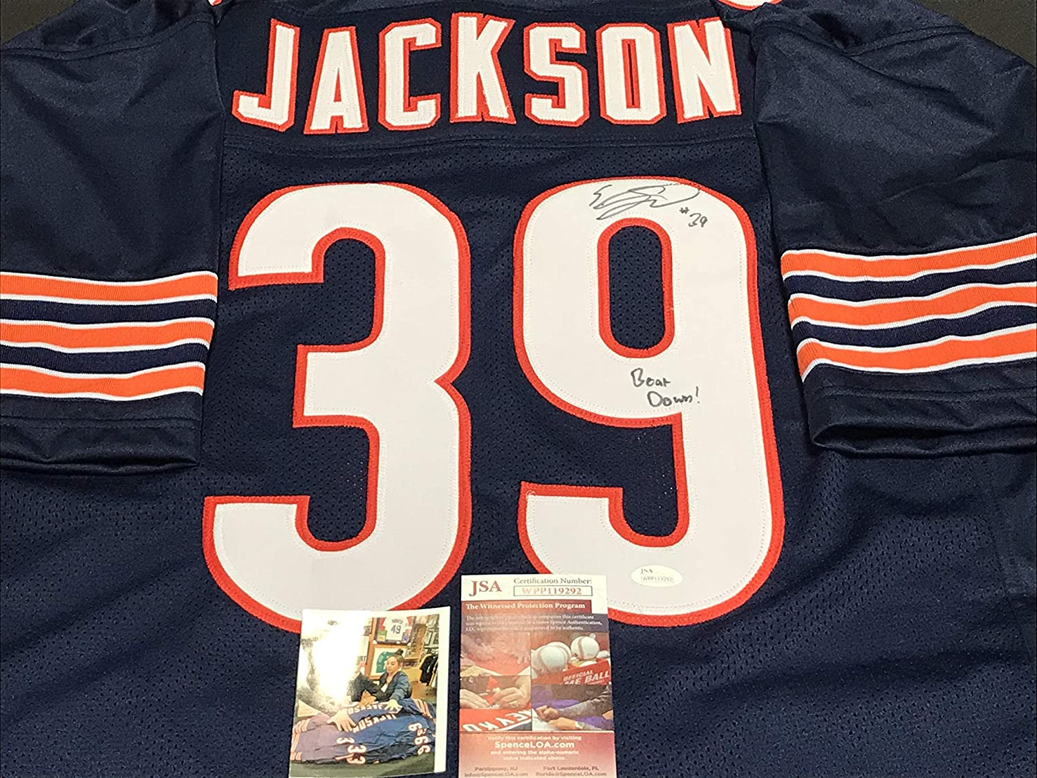 Eddie Jackson Chicago Autographed Signed Jersey JSA WITNESS COA BEAR DOWN SidsGraphs