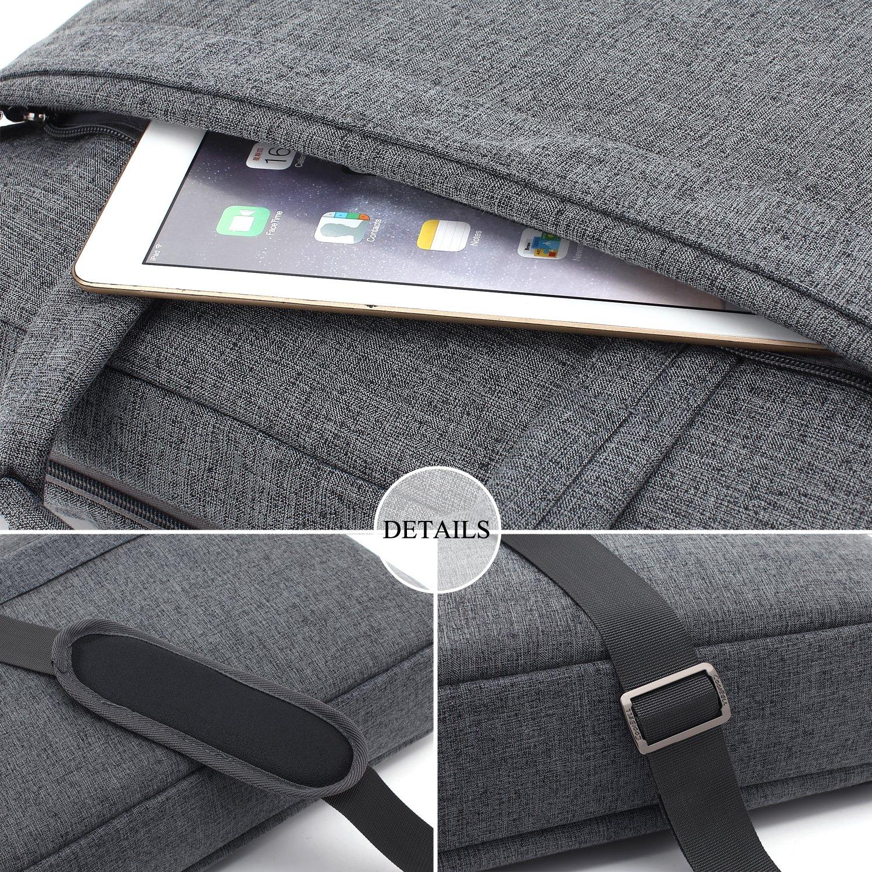 CoolBELL 17.3 inch Laptop Bag Messenger Bag Hand Bag Multi-compartment Briefcase Oxford Nylon Shoulder Bag For Laptop/Ultrabook/HP/Acer/Macbook/Asus/Lenovo/Men/Women (New Grey) by CoolBELL (Image #6)