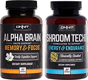 ONNIT Alpha Brain 90ct + Shroom Tech Sport 84ct Nootropic Stack