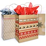 Christmas Gift Bag Set with Tissue Paper Included | Red & White Nordic Print Gift Bag | Paper Kraft Bags In 3 Assorted Holiday Designs With Matching Tissue Paper | Xmas Fair Isle Bulk Packaging (6)