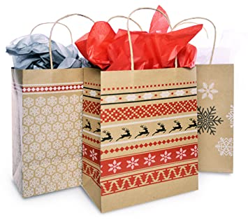Christmas Gift Bags.Christmas Gift Bag Set With Tissue Paper Included Red White Nordic Print Gift Bag Paper Kraft Bags In 3 Assorted Holiday Designs With Matching