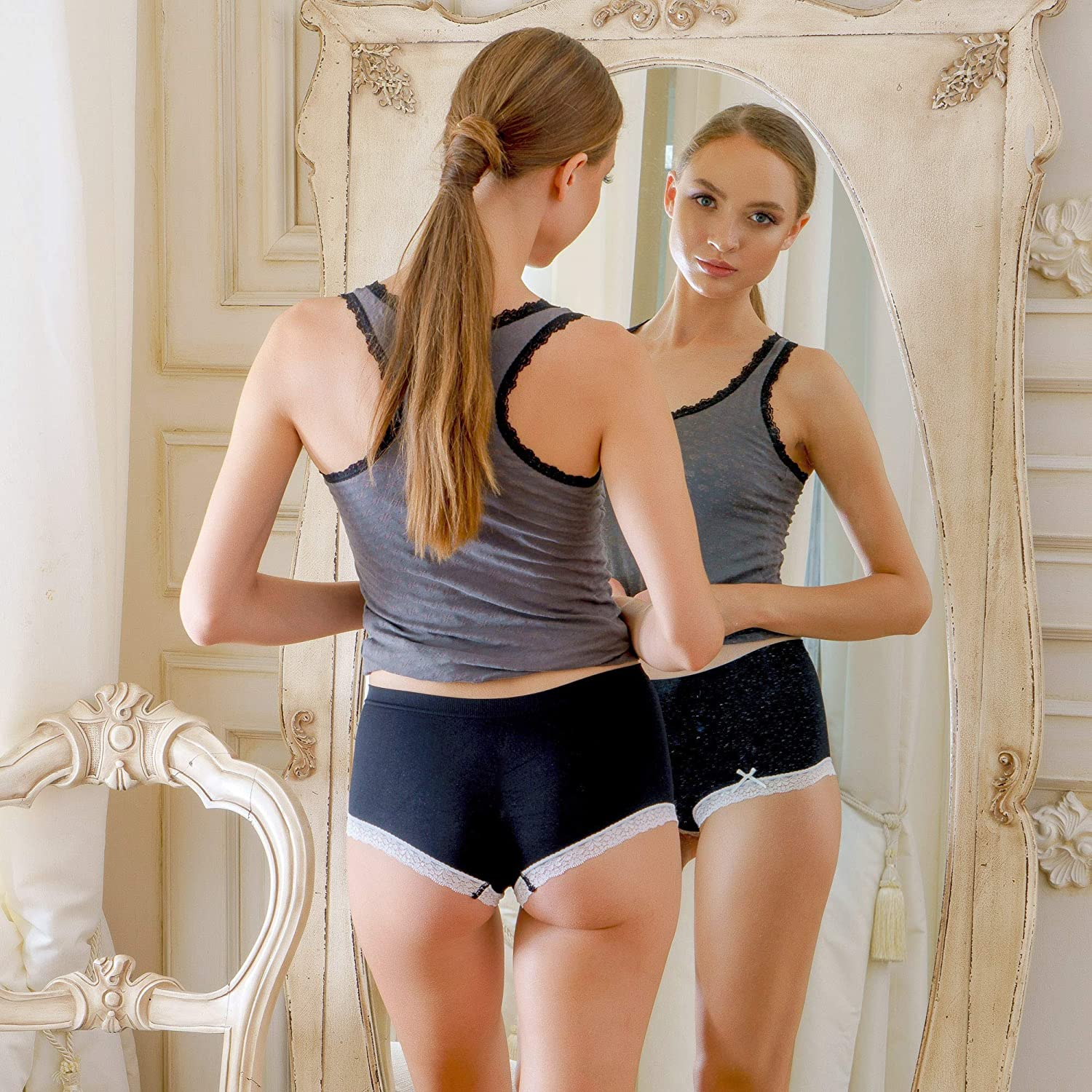 Alyce Ives Intimates Seamless No Show Womens Boyshort Pack of 6