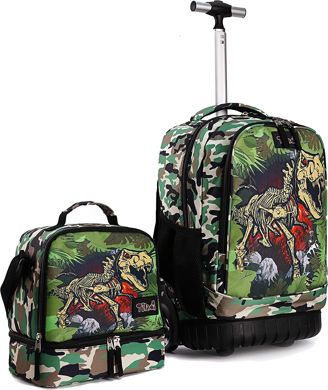 Tilami Rolling Backpack 19 inch with Lunch Bag Wheeled Laptop Backpack, Dinosaur Camouflage