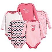 Luvable Friends Unisex Baby Long Sleeve Cotton Bodysuits, Foxy 5 Pack, 0-3 Months (3M)