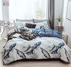 GEFEII 100% Cotton Duvet Cover Set Full/Queen Soft Breathable 3 Pieces Bedding Set with Zipper Closure Botanical Leaves Printed Comforter Cover Set (Blue-Banana Leaf, Full/Queen (duvet cover 90