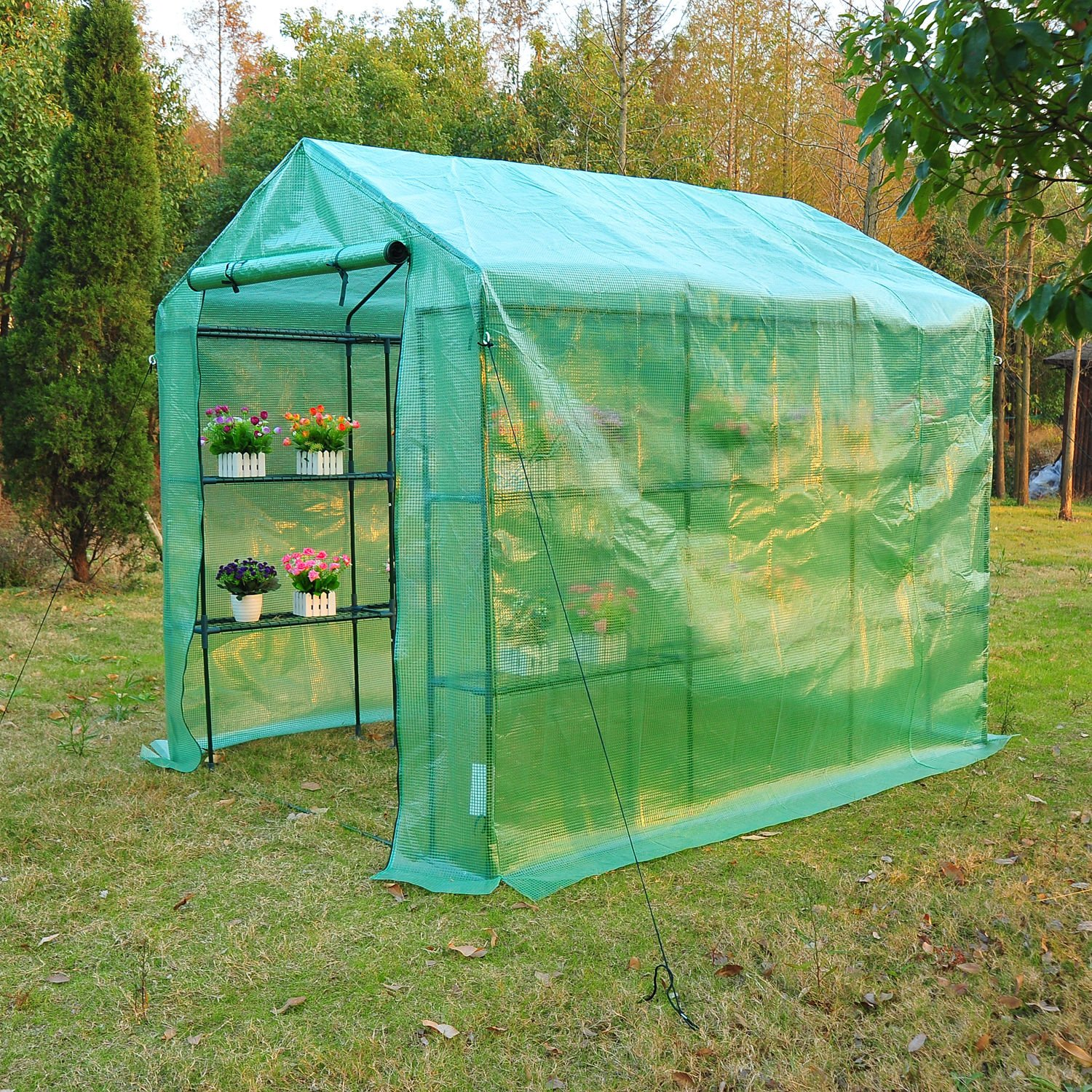 Outsunny 8' x 6' x 7' Outdoor Portable Walk-in Greenhouse by Outsunny (Image #5)