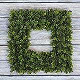 """Pure Garden Square Boxwood Wreath - 16.5"""" x 16.5"""""""