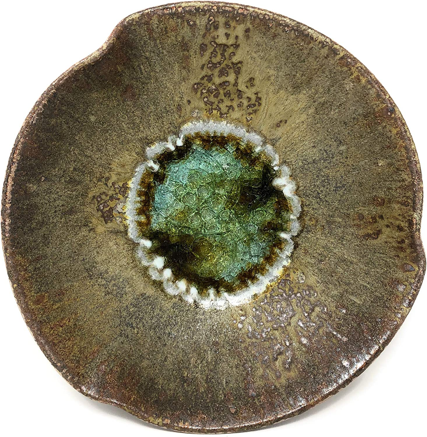 Dock 6 Pottery Pinched Rim Bowl with Fused Glass, Copper, Small