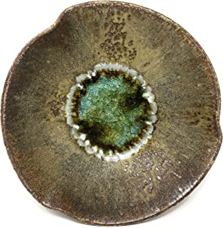 product image for Dock 6 Pottery Pinched Rim Bowl with Fused Glass, Copper, Large
