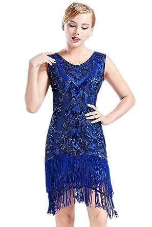 7a568d9984 BABEYOND 1920s Flapper Dress Long Fringed Gatsby Dress Roaring 20s Sequins  Beaded Dress Vintage Art Deco