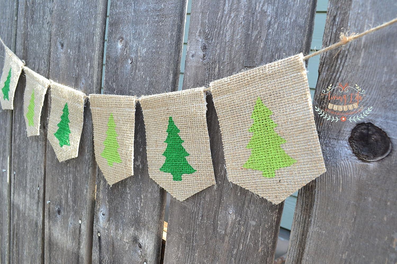 Handmade Burlap Banner Christmas Bunting Rustic Home Decor Christmas Banner Xmas Decor