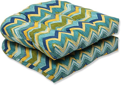 Pillow Perfect Outdoor Tamarama Meadow Wicker Seat Cushion, Set of 2
