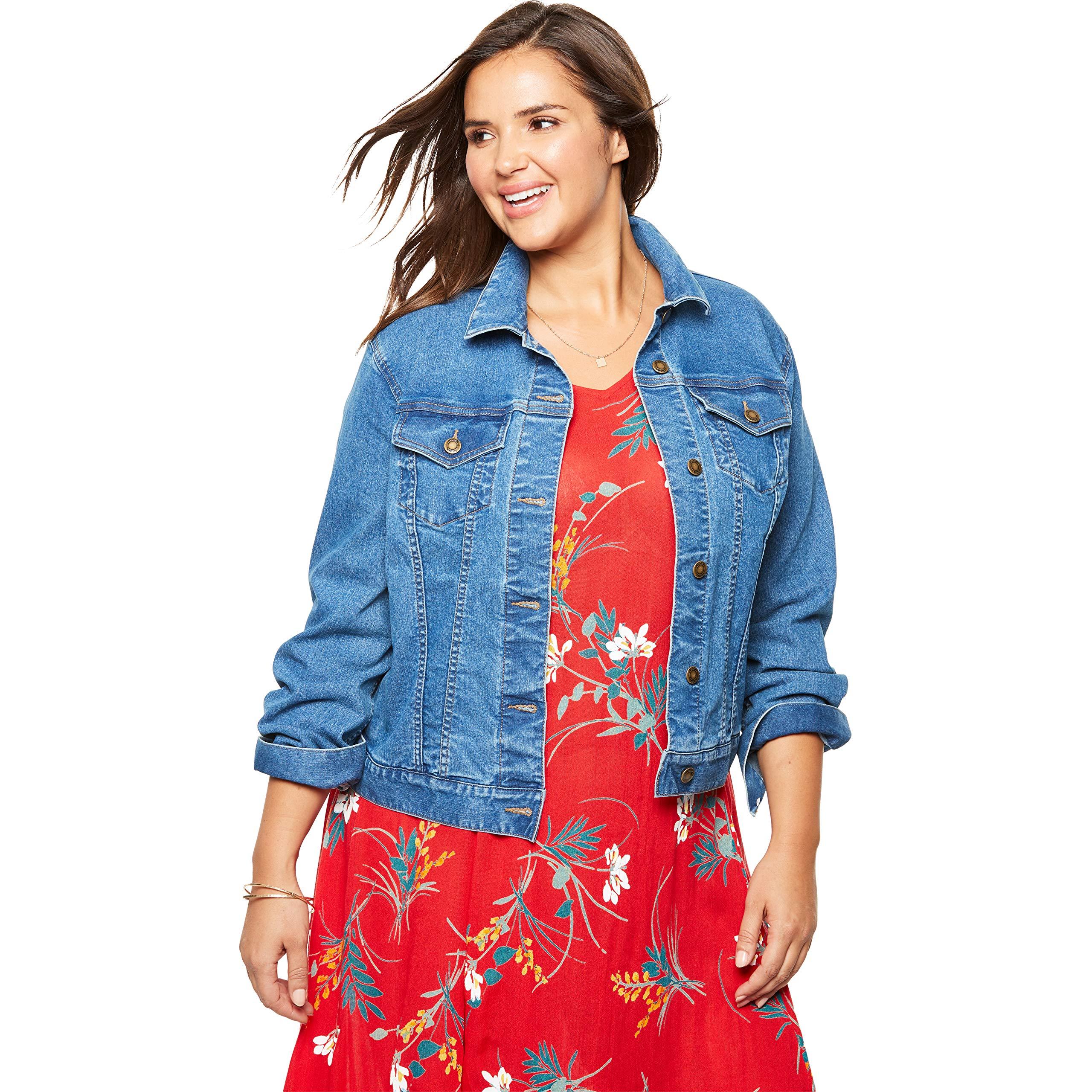 Woman Within Women's Plus Size Stretch Denim Jacket - Light Stonewash, 36 W by Woman Within