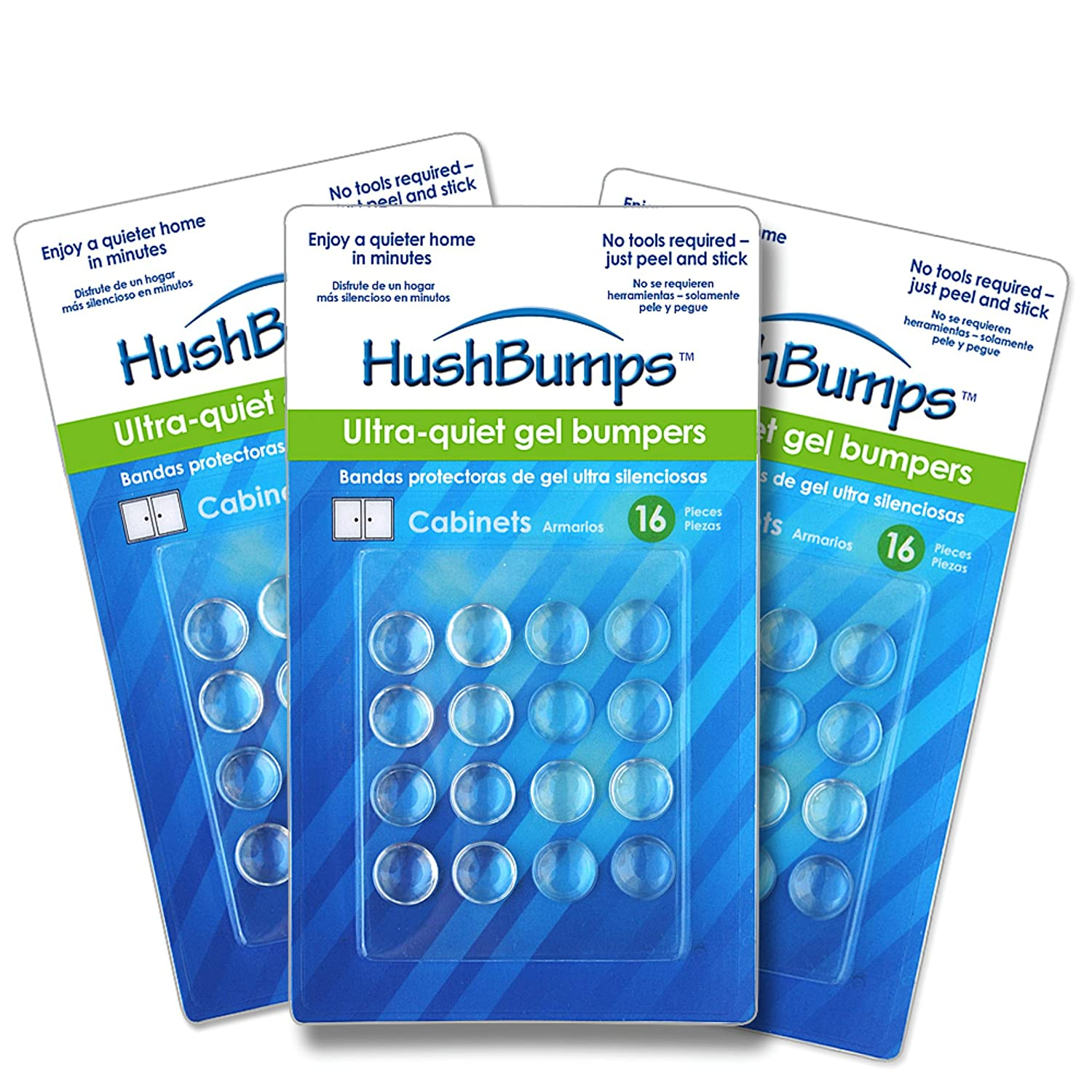 HushBumps Ultra-Quiet GEL Bumpers 3-PACK. Perfect Cabinets & Drawers ...