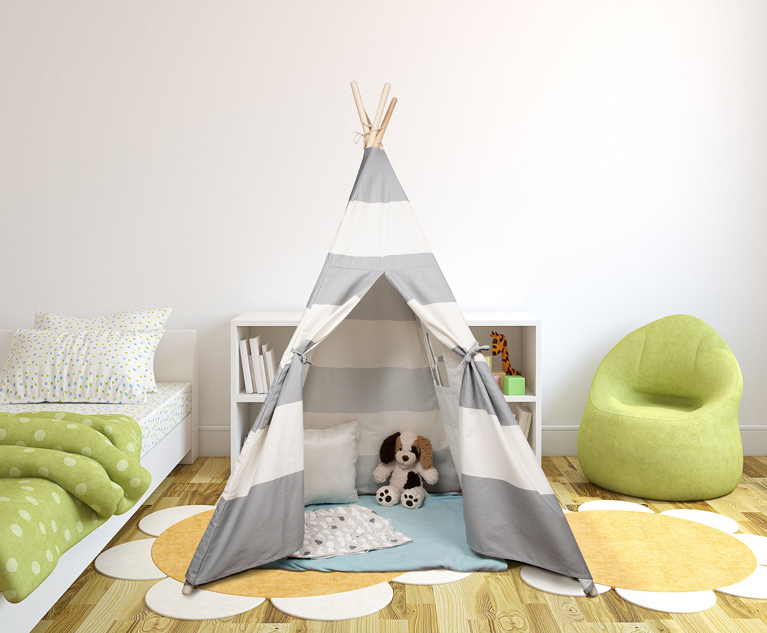 Made of Durable Cotton w Pine Wood Frame Foldable Playhouse for Indoor Use 5 ft Tall Play Tent for Boys /& Girls Svan Kids Canvas Teepee Tent