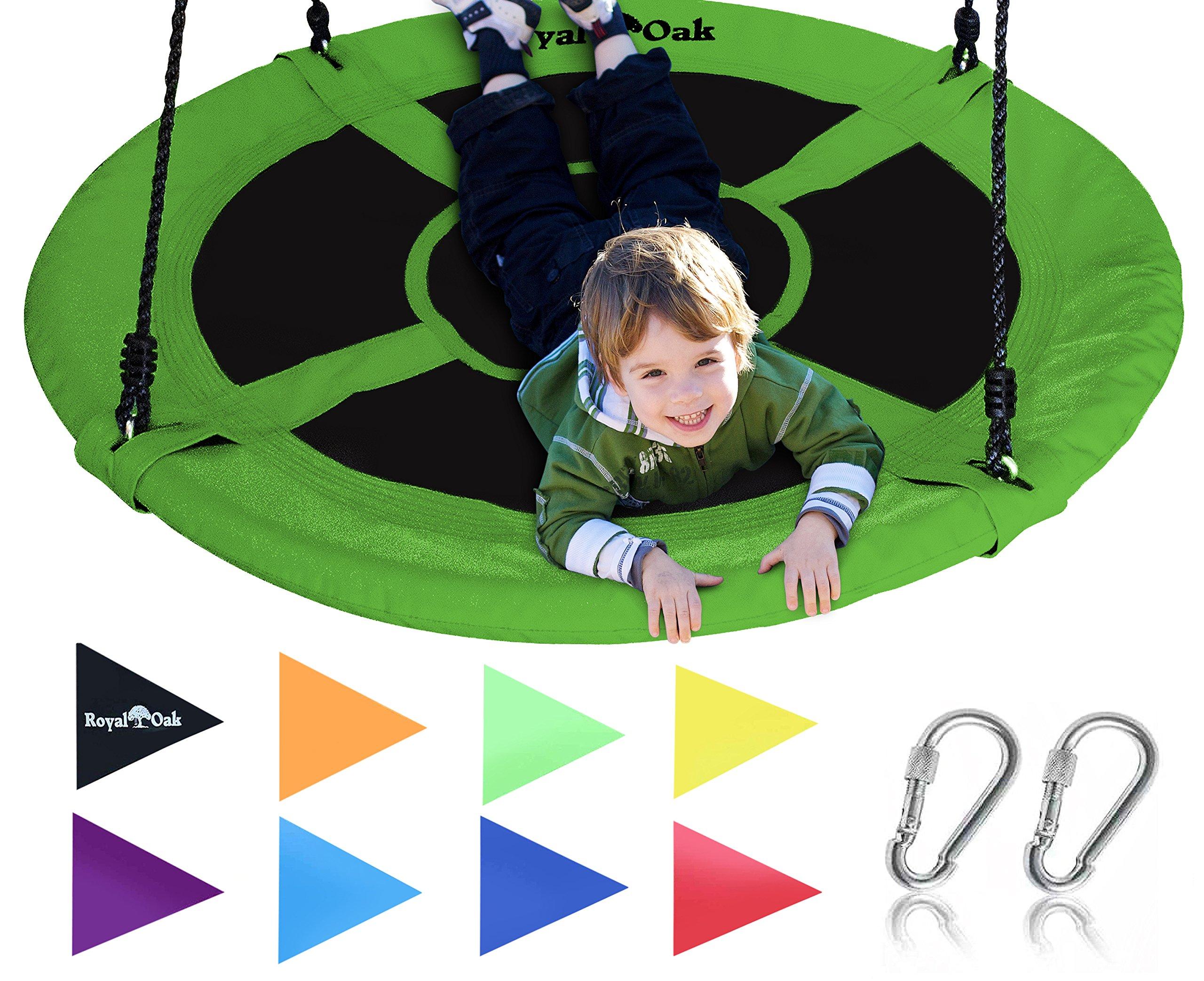 Royal Oak Giant 40'' Flying Saucer Tree Swing, Bonus Flags, 700 lb Weight Capacity, Easy Install, Steel Frame
