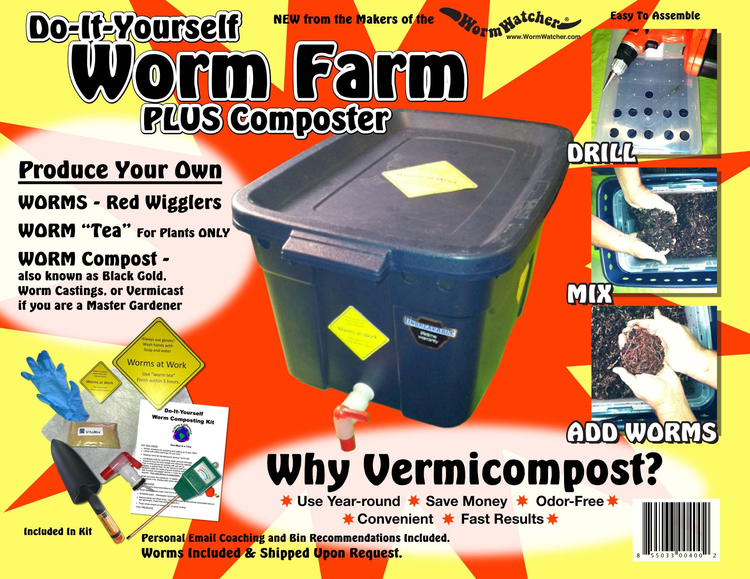WormWatcher® Worm Farm Composting DIY Kit INCLUDES Worms & Instructional Email Coaching!