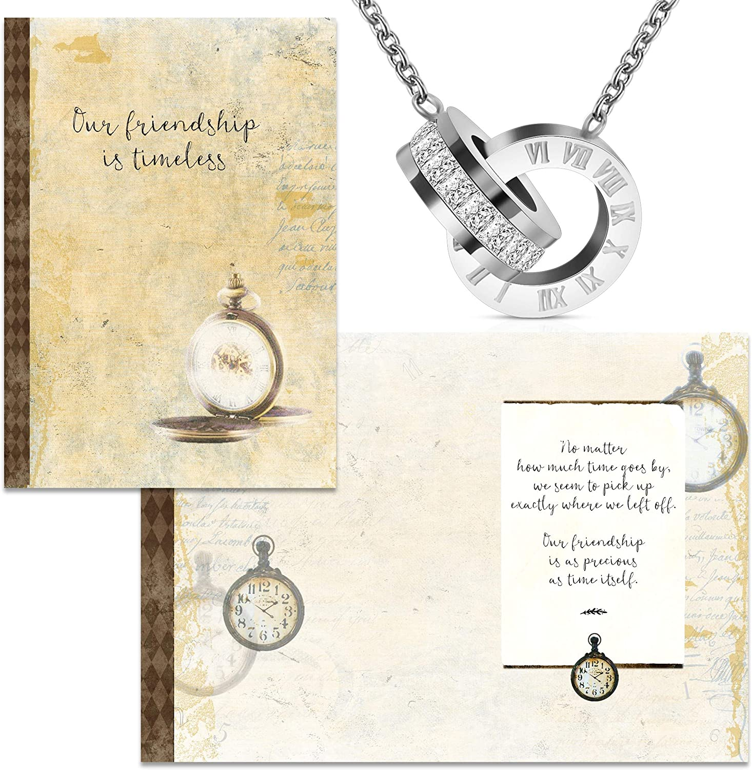 Smiling Wisdom - Timeless Friend Special Friendship Greeting Card With Time and CZ Intertwined Ring Necklace Gift Set - Woman Best BFF Bestie - Silver Color - Stainless Steel