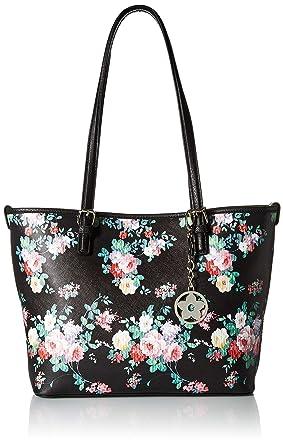 d2db2ad6b566 Amazon.com: Bueno of California Floral Tote, Black Flower Bouquet ...