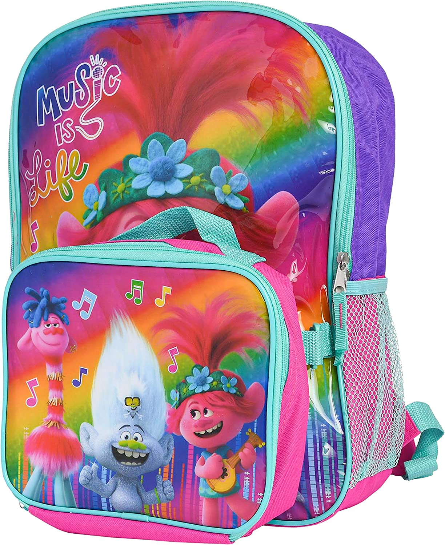School Bookbag Set Dreamworks Trolls 100/% Happy Backpack with Lunchbox
