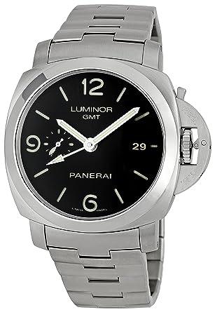 Amazon.com  Panerai Men s PAM00329 Steel Luminor 1950 GMT Black Dial ... 16260cdd4195