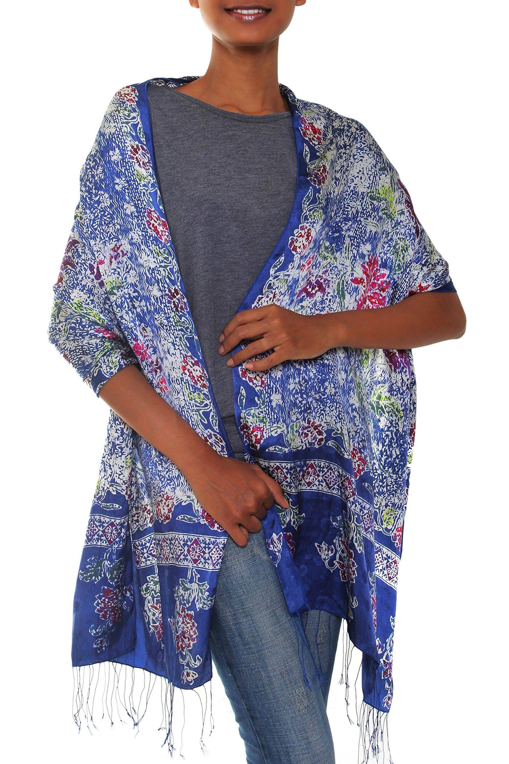 NOVICA Blue and Red Floral Print 100% Silk Batik Shawl Scarf, 'Sapphire Mums'