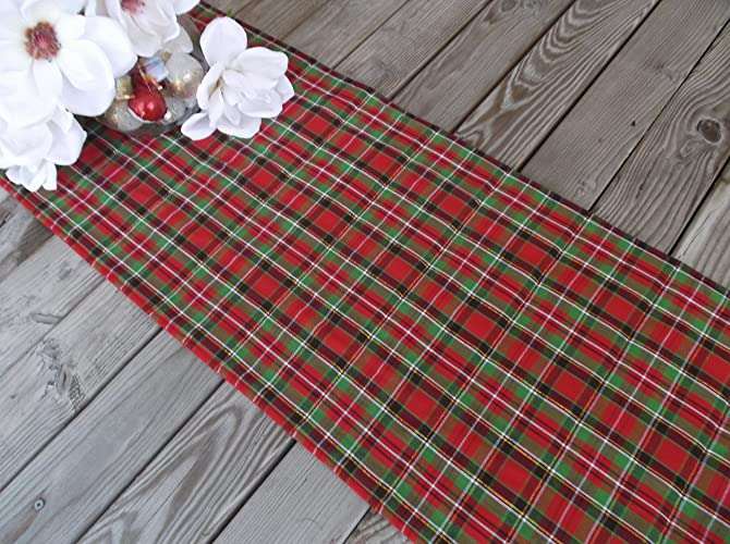 christmas plaid quilted fabric table runner or sideboard runner 69 inches - Christmas Plaid Table Runner