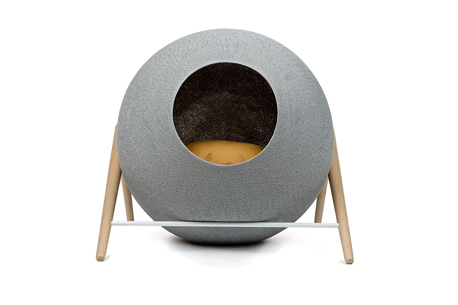 Meyou Paris - the BALL, bed, cozy shelter and claw sharpener - Light grey cocoon / camel pillow / white metal frame