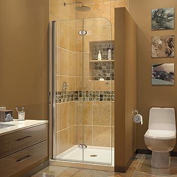 DreamLine Aqua Fold 33 1/2 in. W x 72 in. H Frameless Bi-Fold Shower ...