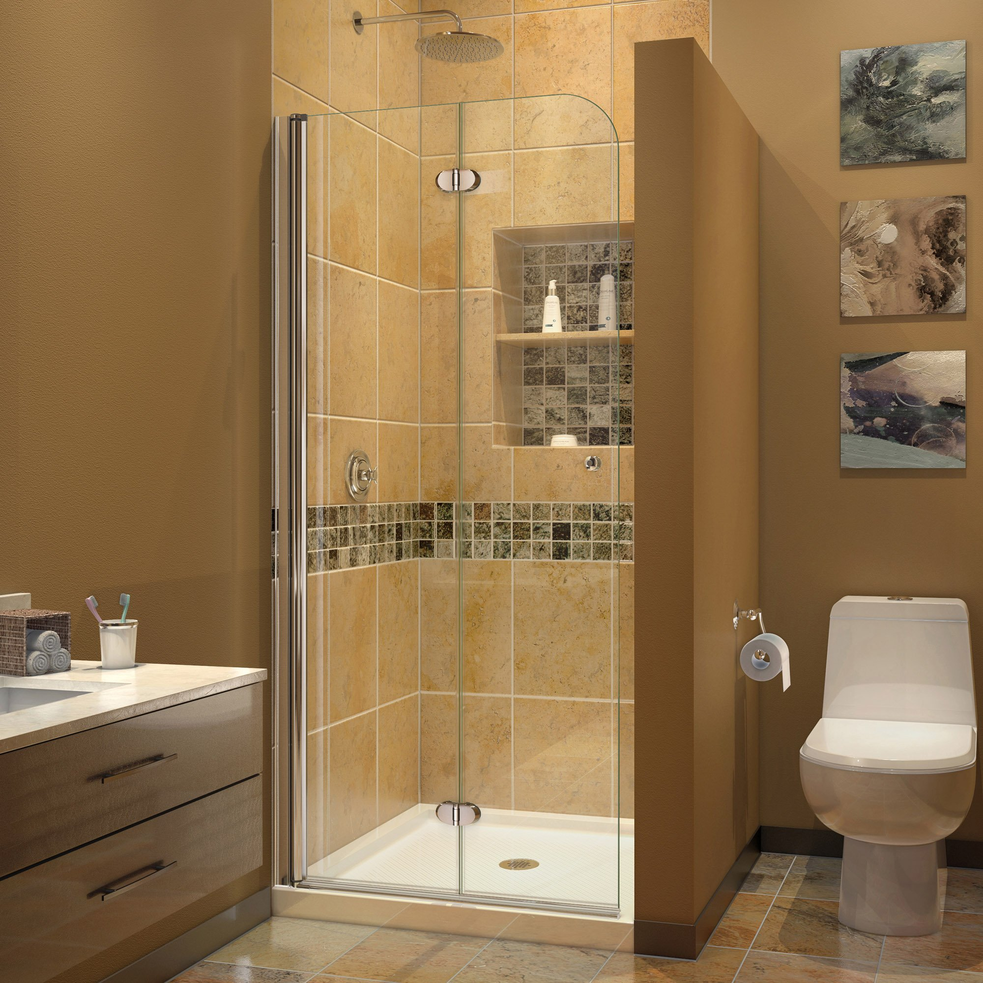 DreamLine Aqua Fold 33.5 in. Width, Frameless Hinged Shower Door, 1/4'' Glass, Chrome Finish
