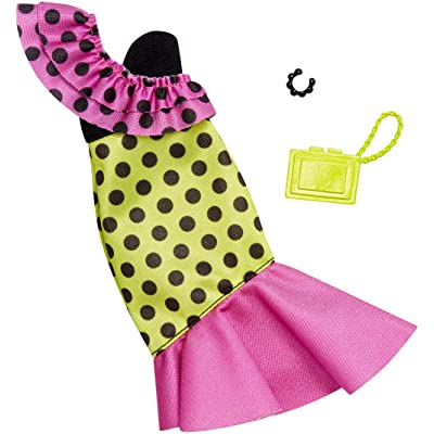 Barbie Complete Looks Doll Clothes, Outfit Dolls Featuring A Party Dress Decorated with Green and Pink Color-Blocking, Ruffles and Polka Dots, Gift for 3 to 8 Year Olds: Toys & Games