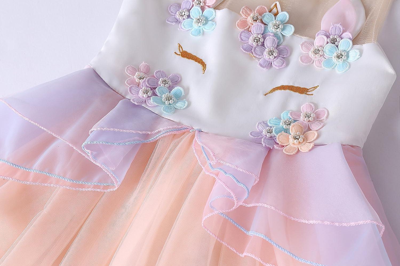 Molliya Girls Unicorn Costume Pageant Princess Party Dress Flower Evening Gowns Tulle Tutu Fancy Dress