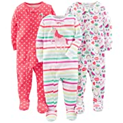 Simple Joys by Carter's Baby Girls' 3-Pack Snug-Fit Footed Cotton Pajamas, Rainbow,Strawberry,Multistripe Unicorn, 6-9 Months