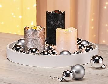 Dekorations Set Bestehend Aus Holz Tablett 3x Led Kerzen Und 22x