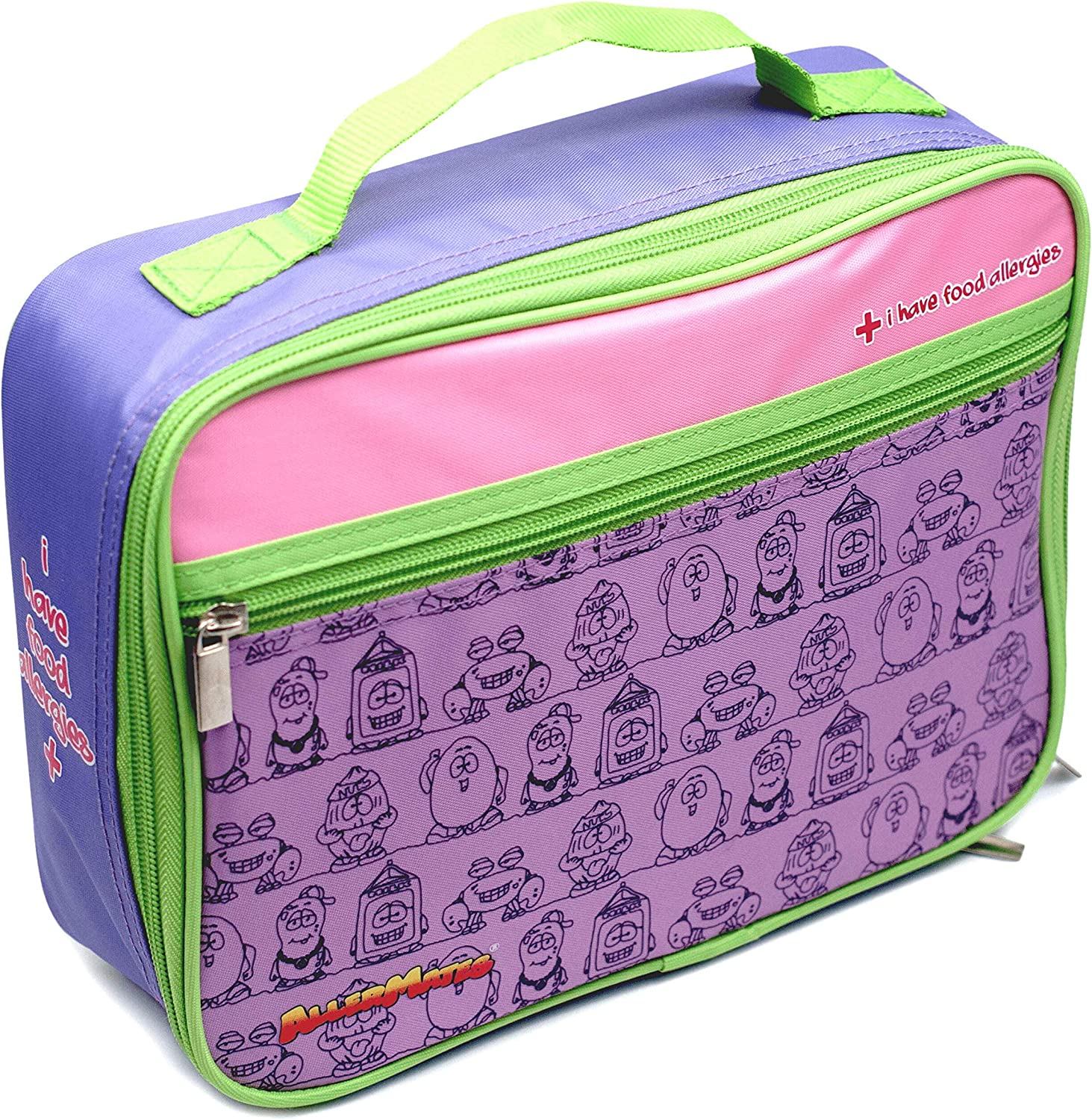 AllerMates I Have Food Allergies Fun Characters Eco Friendly Insulated Children's Food Safety Lunch Box - Purple
