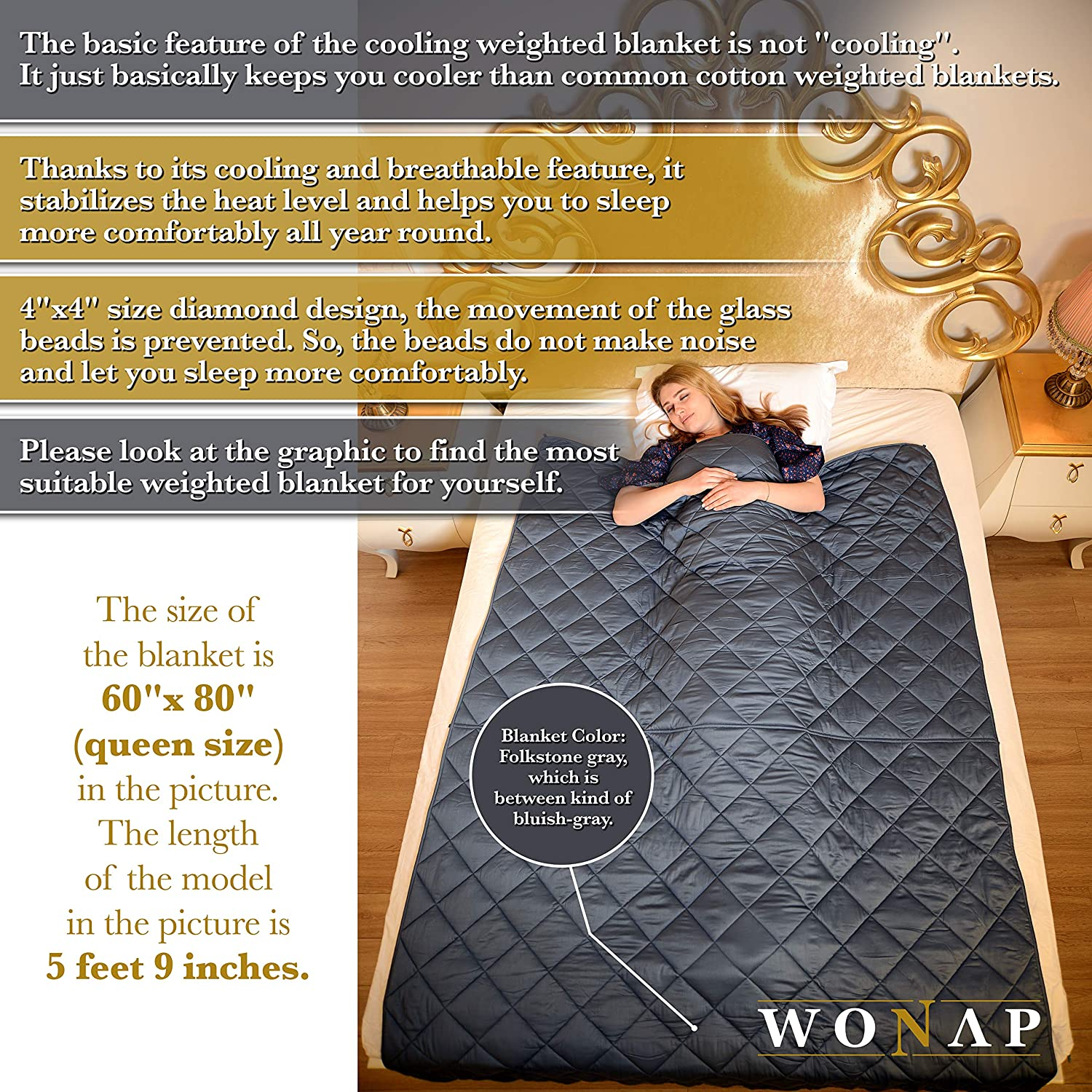 WONAP Cooling Weighted Blanket for Adult and Kids 20 lbs Heavy Blanket Folkstone Grey 60x80 Queen Size 100/% Natural Bamboo with Premium Glass Beads