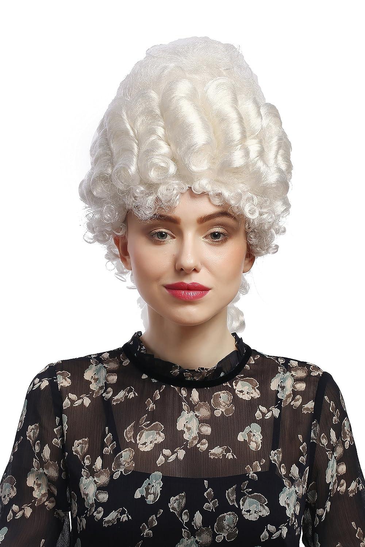 WIG ME UP ® - 91029-ZA62 Peluca señoras Carnaval históricamente nobleza barroca Blanco Peinado Pompadour Colmena Torre de Reina María Antonieta de 50 cm: ...