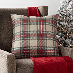 "Greendale Home Fashions Plaid 18"" Square Holiday Throw Pillow, Red/Green"