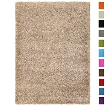 Amazon Com Shag Area Rug 5x7 Plain Solid Beige Shag Rugs For