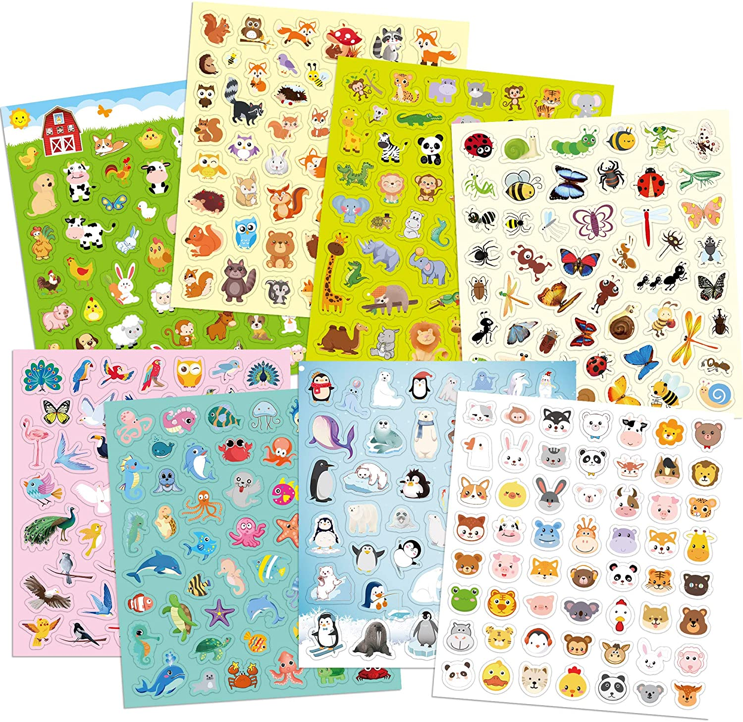 Animal Stickers for Kids Assortment Set 800 Count 16 Sheets 8 Themes Collection for Children Craft Party Favors