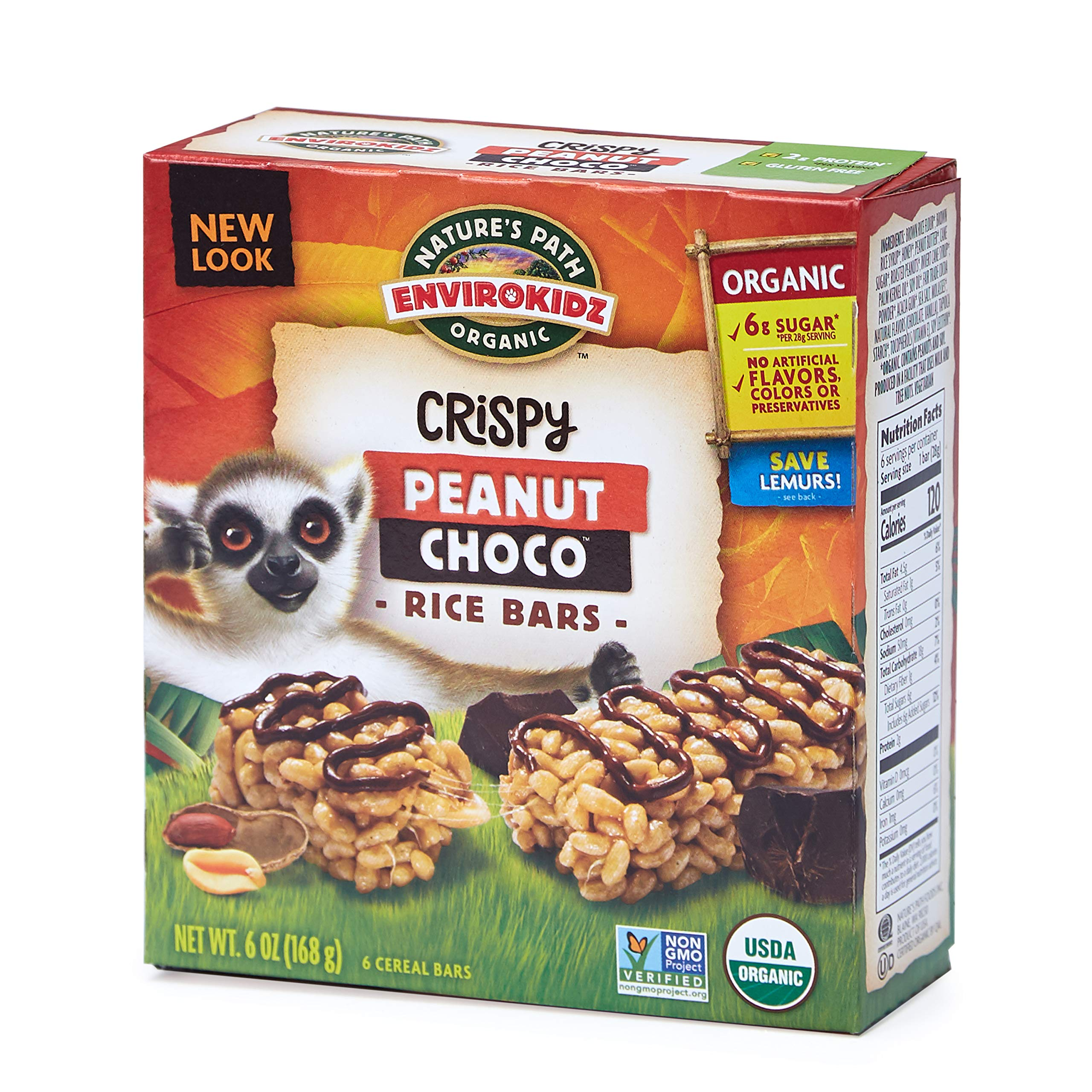 Nature's Path EnviroKidz Peanut Choco Crispy Rice Bars, Healthy, Organic, Gluten-Free, 6 Ounce Box (Pack of 6)
