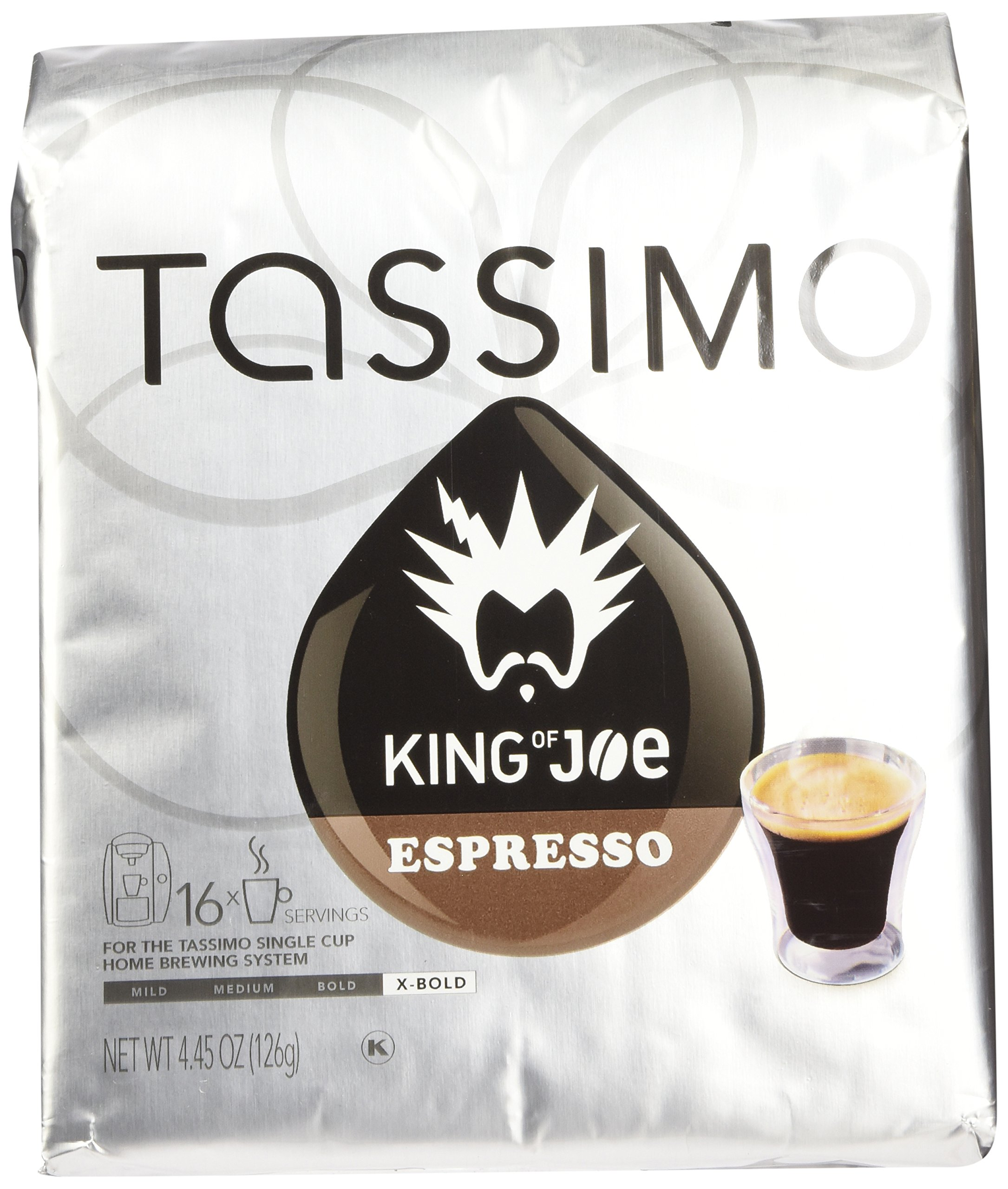 Tassimo T-Discs: King of Joe Espresso T-Disc Pods (Case of 5 packages; 80 T-Discs Total) by Tassimo