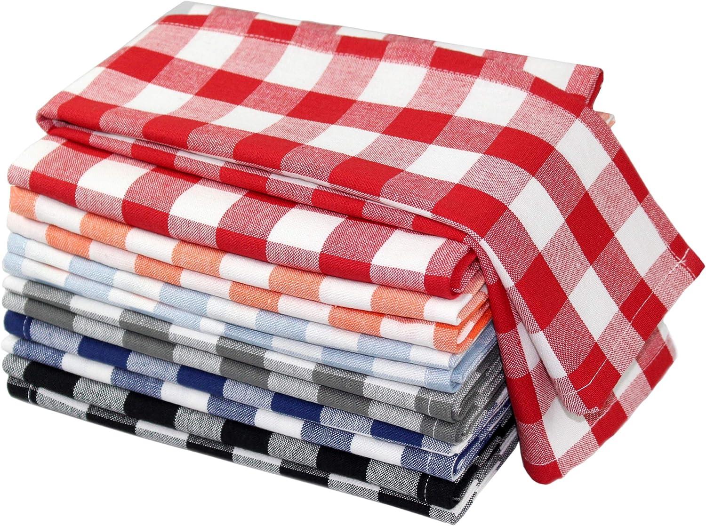 COTTON CRAFT Countryside Set of 12 Pure Cotton Multipurpose Kitchen Towels, Buffalo Check, Gingham Check, Red/White, Light Blue/White, Grey/White, Orange/White, Black/White, Navy Blue/White