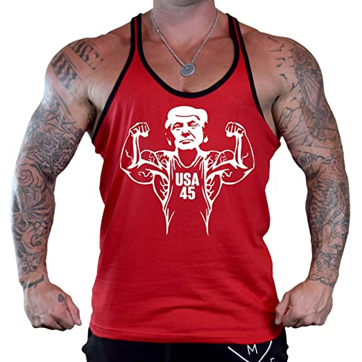 698e6c66 Amazon.com: Buff Muscle Flex Trump Men's Red Stringer Tank Top: Clothing