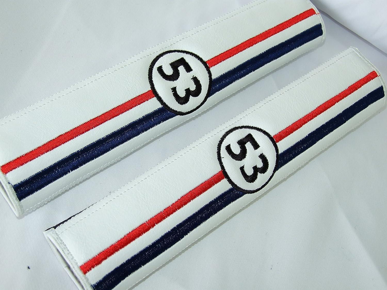 pour Ceinture de s/écurit/é Coussinets d/épaule ONEKOOL Herbie 53/Racing Style Cuir Blanc Similicuir